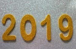 Inskrift för ` s för nytt år med nummer 2019 royaltyfria foton