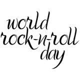 Inskrift för världsVagga-n-rulle dag i svart Royaltyfri Foto