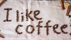Inskrift I gillar kaffe Royaltyfria Bilder