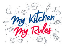 Inskrift mitt kök - mina regler royaltyfri illustrationer