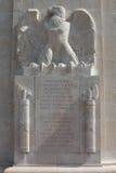 Inskrift på den amerikanska WW1 monumentet, Sommepy, Frankrike Royaltyfri Fotografi