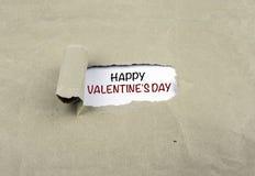 Inskrift som avslöjs på gammalt papper - lyckliga valentin dag Royaltyfri Fotografi