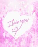 Inskriften älskar jag dig på mitten av den hjärta-, anbud- och rosa färgvattenfärgbakgrunden En känslosam förklaring av förälskel Royaltyfria Foton