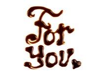 Inskriften den smältta chokladen Royaltyfria Bilder