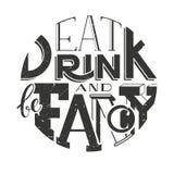 Inskriften för vektoraffischbokstäver äter drinken och är utsmyckad vektor illustrationer