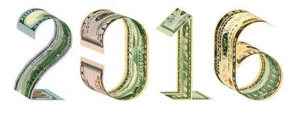 Inskriften 2016 gjorde av 100, 50, 20, 10 dollar sedlar Arkivbilder