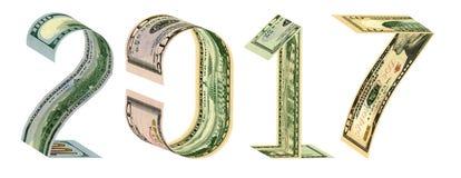 Inskriften 2017 gjorde av 100, 50, 20, 10 dollar sedlar Royaltyfri Fotografi
