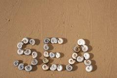 Inskriften 'havet 'är skriftlig vid små havsskal på den gula sanden arkivfoto