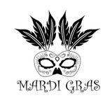 Inskriften Mardi Gras, med bilden av karnevalmaskeringen stock illustrationer