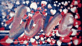 Inskriftförälskelsen som omges av röda och vita hjärtor på en blå bakgrund stock illustrationer