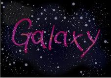 Inskriftgalaxen på bakgrunden av himmel för mörkt utrymme med maler royaltyfri foto