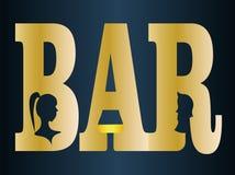 Inskrypcja bar z sylwetkami mężczyzna, kobieta i szklany projekta biznesu logo, Fotografia Stock