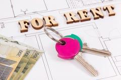 Inskrypcja dla czynszu, domowych klucze, waluty, pojęcie wynajmowanie dom i mieszkanie euro na elektrycznym budowa budynek mieszk zdjęcie royalty free