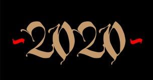 Inskrypcja 2020, gotyk wektor Nowy Rok w średniowiecznym stylu Złoty logo na czarnym tle royalty ilustracja