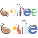 Inskrypcja kawa i kawiarnia Fotografia Royalty Free