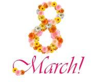Inskrypcja kwiaty 8 Marzec Obraz Royalty Free