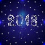 Inskrypcja 2018 na błękitnym tle nowy rok, również zwrócić corel ilustracji wektora Zdjęcia Stock