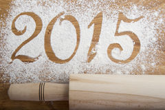 2015 inskrypcja na drewnianym tle Obrazy Stock