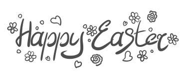 Inskrypcja na Easter wakacje z doodles ilustracja wektor