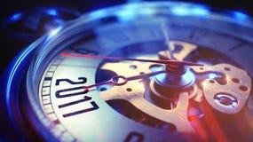 2017 - Inskrypcja na Kieszeniowym zegarku ilustracja 3 d Obraz Royalty Free