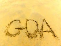 Inskrypcja na piasku Goa obraz royalty free