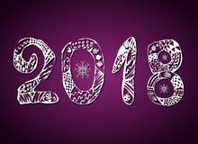 Inskrypcja 2018 na purpurowym tle nowy rok, również zwrócić corel ilustracji wektora Obrazy Royalty Free