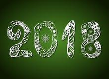 Inskrypcja 2018 na zielonym tle nowy rok, również zwrócić corel ilustracji wektora Obraz Royalty Free