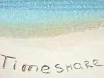 Inskrypcja Timeshare w piasku na tropikalnej wyspie, Maldives Zdjęcie Royalty Free