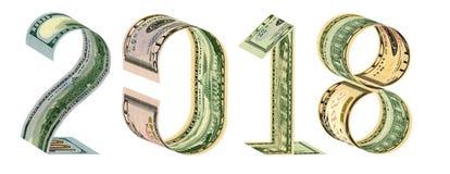 Inskrypcja 2018 zrobił 100, 50, 20, 10 3D banknotów dolarowy rendering Obraz Stock