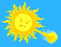 Insolation du soleil courroucé Image libre de droits