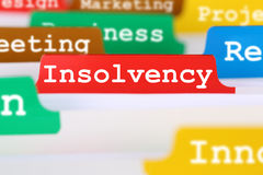 Insolvency, bankruptcy or liquidation business concept register. Insolvency, bankruptcy or liquidation business concept problem register in documents Stock Photo
