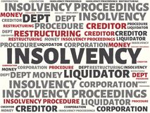 INSOLVENCY - image with words associated with the topic INSOLVENCY, word, image, illustration. INSOLVENCY - image with words associated with the topic Royalty Free Stock Photography