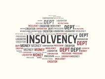 INSOLVENCY - image with words associated with the topic INSOLVENCY, word, image, illustration. INSOLVENCY - image with words associated with the topic Royalty Free Stock Photos