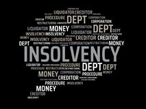 INSOLVENCY - image with words associated with the topic INSOLVENCY, word, image, illustration. INSOLVENCY - image with words associated with the topic Stock Photo