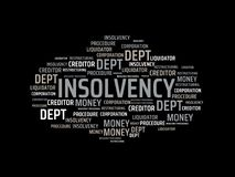 INSOLVENCY - image with words associated with the topic INSOLVENCY, word, image, illustration. INSOLVENCY - image with words associated with the topic Stock Image