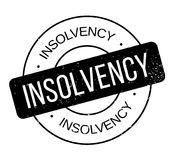 Insolvency rubber stamp. Grunge design with dust scratches. Effects can be easily removed for a clean, crisp look. Color is easily changed Stock Photo