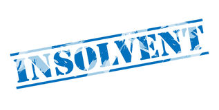 Insolvent blue stamp. Isolated on white background Royalty Free Stock Photos
