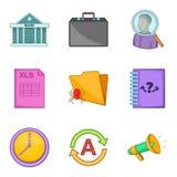 Insolvent icons set, cartoon style. Insolvent icons set. Cartoon set of 9 insolvent vector icons for web isolated on white background Stock Photo