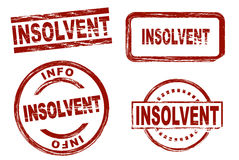 Insolvent ink stamp set. Set of stylized red stamps showing the term insolvent. All on white background Stock Photo
