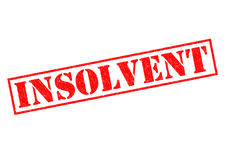 INSOLVENT. Red Rubber Stamp over a white background Stock Image
