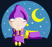 Insomnia. Cartoon character guy having trouble sleeping Royalty Free Stock Image
