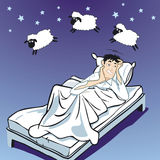 Insomnia. At night when sheep are Royalty Free Stock Photo