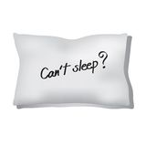 Insomnia. Pillow and can't sleep word show insomnia illustration isolated over white background Royalty Free Stock Photos