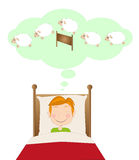 Insomnia, boy counting sheep Stock Images