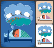 Insomnia. Cartoon illustration of man suffering from insomnia. No transparency and gradients used Stock Images