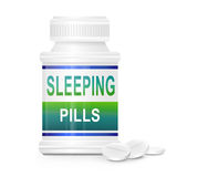 Insomnia concept. Illustration depicting a single medication container with the words 'sleeping pills' on the front with white background and a few tablets in Royalty Free Stock Photo