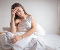 Insomnia depressed woman Royalty Free Stock Photos