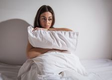 Insomnia depressed woman Royalty Free Stock Photography