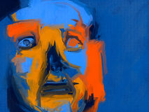 Insomnia - Digital Painting. A vivid expressionist painting of a human face with a restless expression Stock Images