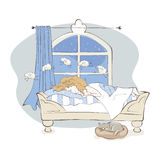 Insomnia. Girl can not fall asleep and considers sheep, vector illustration Royalty Free Stock Photo